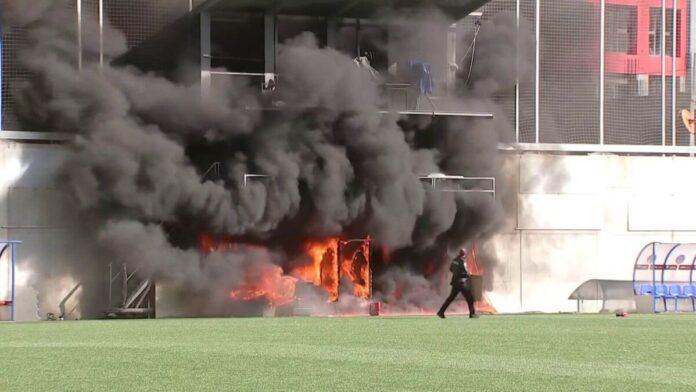 ไฟไหม้สนามอันดอร์ร่า ก่อนเกมดวลอังกฤษ ทีมชาติ
